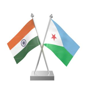 Djibouti Table Flag With Stainless Steel Square Base And Pole