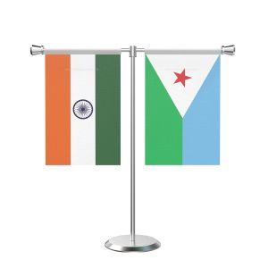 Djibouti T Shaped Table Flag with Stainless Steel Base and Pole