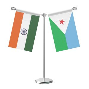 Y Shaped Djibouti Table Flag with Stainless Steel Base and Pole