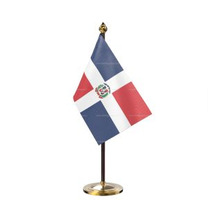 Domician republic Table Flag With Golden Base And Plastic pole