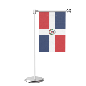 L Shape Table Domician Rep Table Flag With Stainless Steel Base And Pole