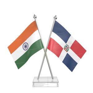 Domicia repn Table Flag With Stainless Steel pole and transparent acrylic base silver top