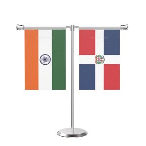 Domicia repn T Shaped Table Flag with Stainless Steel Base and Pole