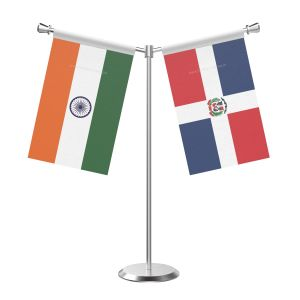 Y Shaped Domicia repn Table Flag with Stainless Steel Base and Pole