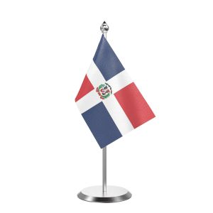 """Single Domicia Repn Table Flag with Stainless Steel Base and Pole with 15"""" pole"""