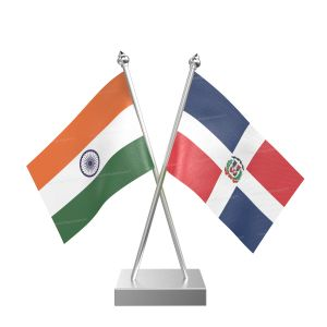 Domicia Repn Table Flag With Stainless Steel Square Base And Pole