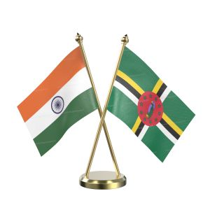 Dominica Table Flag With Brass Base And Brass Pole