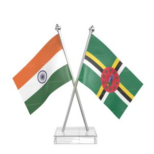 Dominica Table Flag With Stainless Steel pole and transparent acrylic base silver top