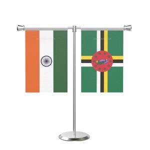 Dominica T Shaped Table Flag with Stainless Steel Base and Pole