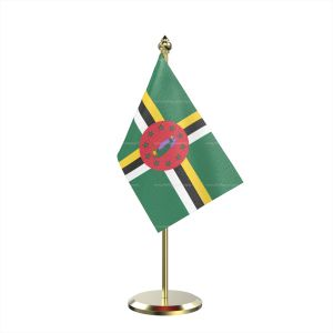 Single Dominica Table Flag With Brass Base And Brass Pole