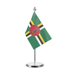 """Single Dominica Table Flag with Stainless Steel Base and Pole with 15"""" pole"""