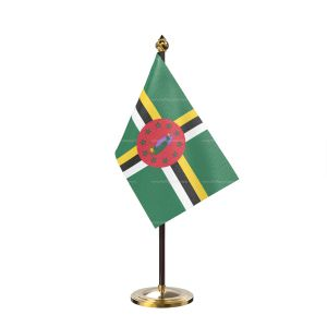 Dominica Table Flag With Golden Base And Plastic pole