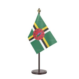 Dominica Table Flag With Black Acrylic Base And Gold Top