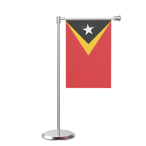 L Shape Table East Timor Table Flag With Stainless Steel Base And Pole