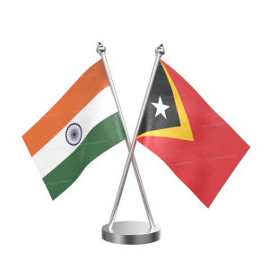 East Timor Table Flag With Stainless Steel Base And Pole