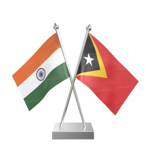 East Timor Table Flag With Stainless Steel Square Base And Pole