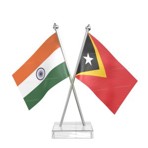 East timor Table Flag With Stainless Steel pole and transparent acrylic base silver top