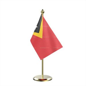 Single East Timor Table Flag With Brass Base And Brass Pole