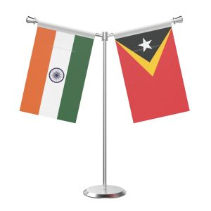 Y Shaped East timor Table Flag with Stainless Steel Base and Pole