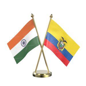 Ecuador Table Flag With Brass Base And Brass Pole