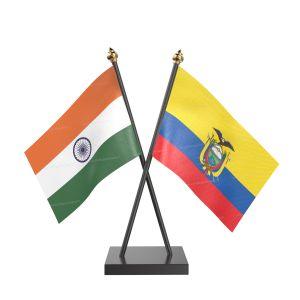 Ecuador Table Flag With Black Acrylic Base And Gold Top