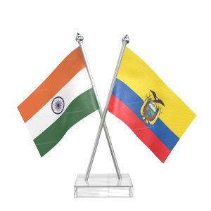 Ecuador Table Flag With Stainless Steel pole and transparent acrylic base silver top