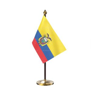 Ecuador Table Flag With Golden Base And Plastic pole