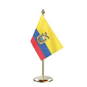 Single Ecuador Table Flag With Brass Base And Brass Pole