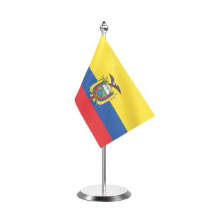 """Single Ecuador Table Flag with Stainless Steel Base and Pole with 15"""" pole"""