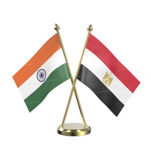 Egypt Table Flag With Brass Base And Brass Pole
