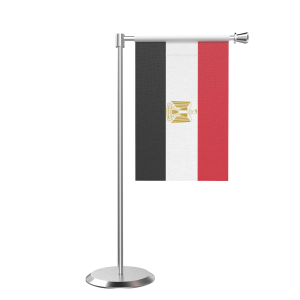 L Shape Table Egypt Table Flag With Stainless Steel Base And Pole