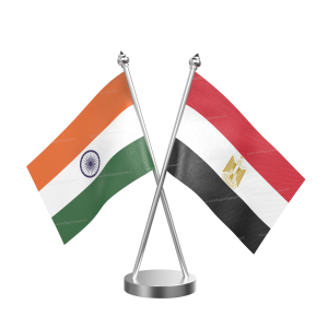 Egypt Table Flag With Stainless Steel Base And Pole