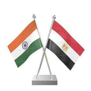 Egypt Table Flag With Stainless Steel Square Base And Pole