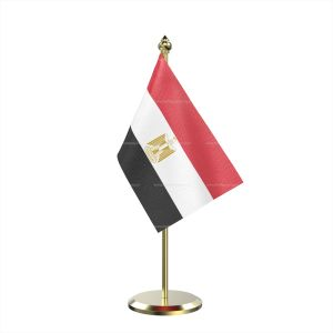 Single Egypt Table Flag With Brass Base And Brass Pole