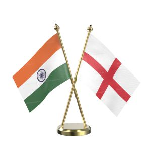 England Table Flag With Brass Base And Brass Pole