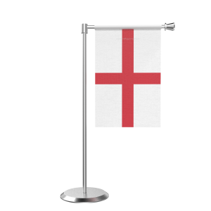 L Shape Table England Table Flag With Stainless Steel Base And Pole