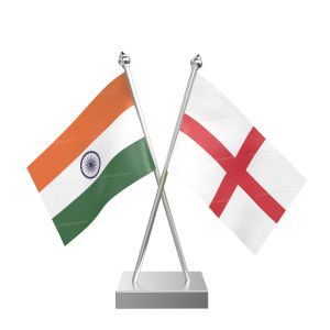 England Table Flag With Stainless Steel Square Base And Pole