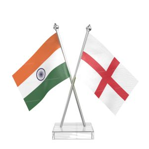 England Table Flag With Stainless Steel pole and transparent acrylic base silver top