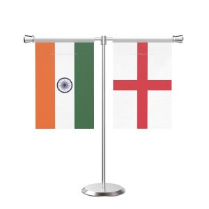 England T Shaped Table Flag with Stainless Steel Base and Pole