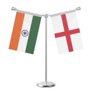 Y Shaped England Table Flag with Stainless Steel Base and Pole