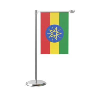 L Shape Table Ethiopia Table Flag With Stainless Steel Base And Pole