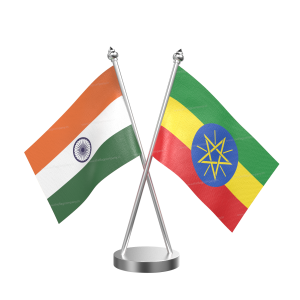 Ethiopia Table Flag With Stainless Steel Base And Pole