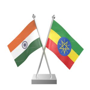 Ethiopia Table Flag With Stainless Steel Square Base And Pole