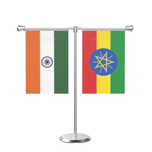 Ethiopia T Shaped Table Flag with Stainless Steel Base and Pole