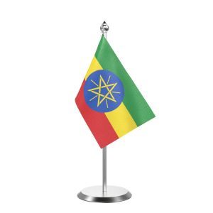 """Single Ethiopia Table Flag with Stainless Steel Base and Pole with 15"""" pole"""
