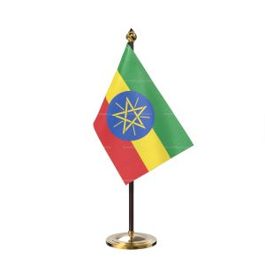 Ethiopia Table Flag With Golden Base And Plastic pole