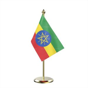 Single Ethiopia Table Flag With Brass Base And Brass Pole