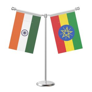 Y Shaped Ethiopia Table Flag with Stainless Steel Base and Pole