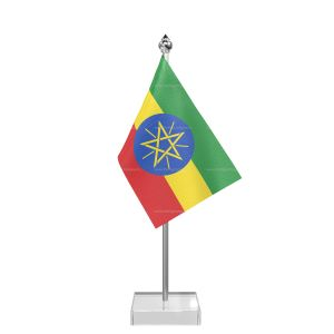 Ethiopia Table Flag With Stainless Steel Pole And Transparent Acrylic Base Silver Top