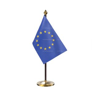 European union Table Flag With Golden Base And Plastic pole